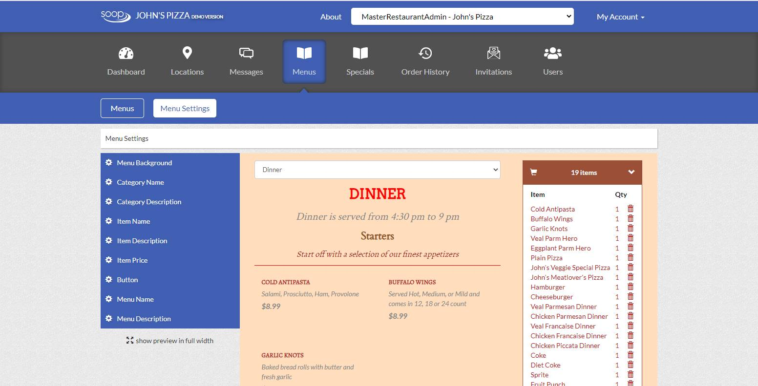 Menu Management - Online Ordering for Restaurants